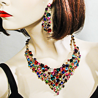 Extra Large Statement Crystal Rhinestone Princess Bib Necklace Earrings Set
