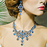 Large Statement Crystal Rhinestone Fringe Bib Necklace Earrings Set