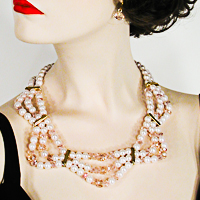 Three Row Pearl, Crystal and Rhinestone Necklace and Earrings Set