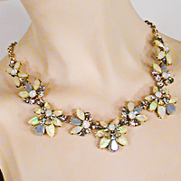 Faux Opal, Moonstone and Rhinestone Segment Necklace
