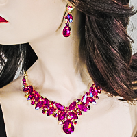 Multi Hue Large Crytal Rhinestone Bib Necklace & Earrings Set