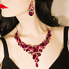 Large Chunk Crystal Rhinestone Statement Necklace Earrings Set