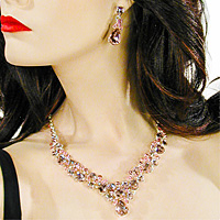 Crystal Rhinestone Teardrop Necklace and Earrings Set