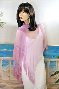 Long Silk Chiffon Scarf or Shawl with Fringed Edge