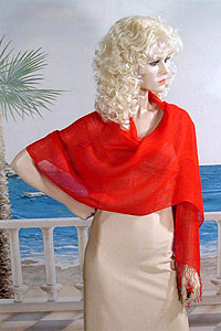Loose Weave Linen Shawl Wrap with Body