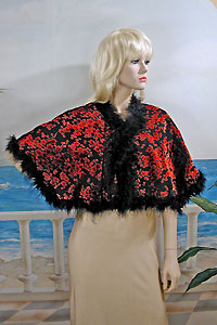 Velvet Capelet with Marabou Feather Trim