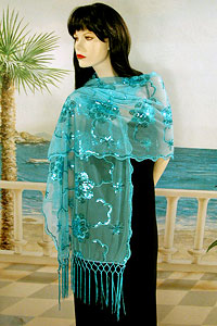 Sheer sequined Embroidered Oblong Shawl Wrap