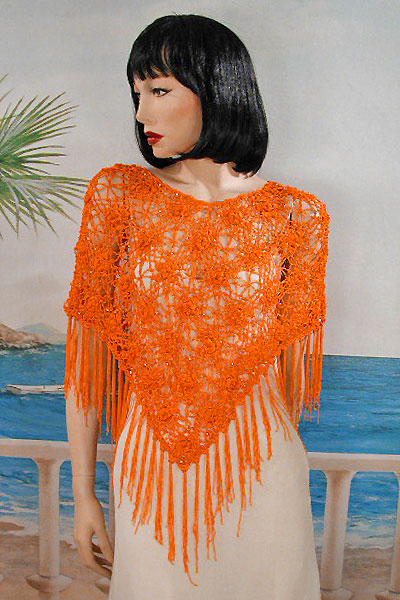 Crocheted Beaded Poncho in a Floral Design with Long Fringe