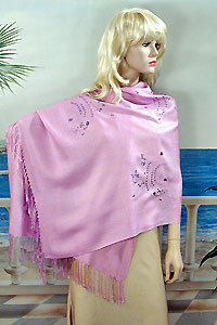 Long Soft Embroidered Shawl Wrap