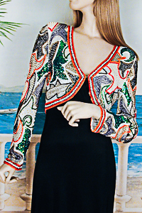 Beaded and Sequined Multi Color Bolero Jacket