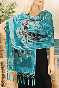 Large Velvet Oblong Shawl with Butterfly Design