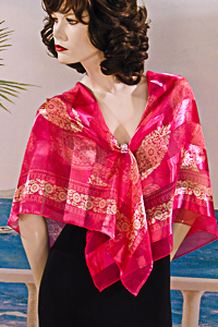 Bright Satin and Chiffon Strped Scarf