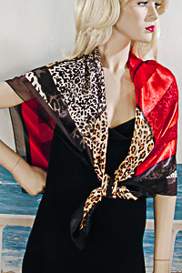 Large Animal Print and Red Blocked Scarf
