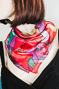 Small Satin Chiffon Picasso Design Scarf