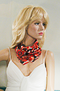 Small Square Neck Scarf with Red Flowers