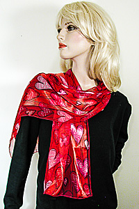 Long Silky Red Hearts Print Scarf Wrap Chifforn Satin Silk Feel