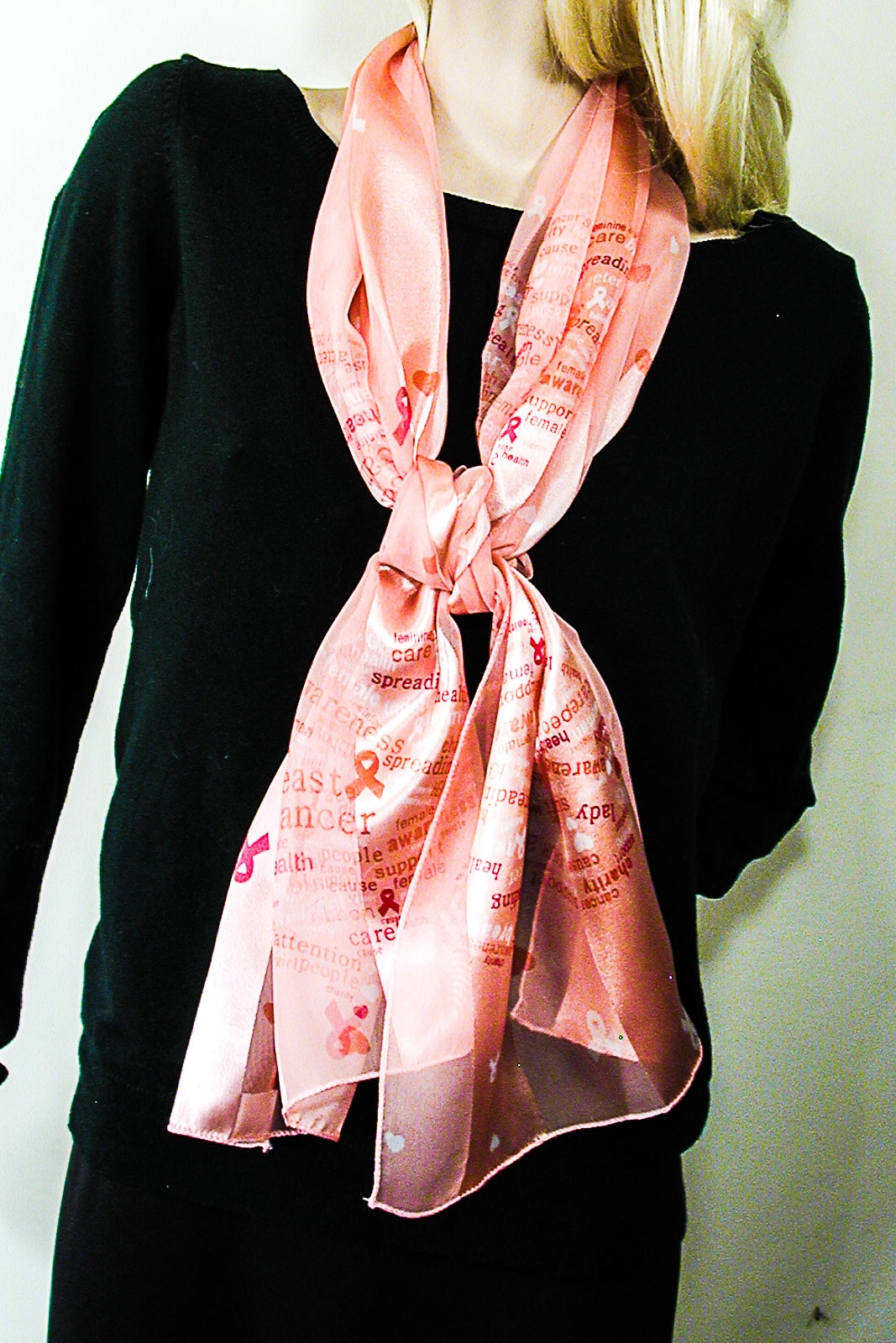Long Silky Breast Cancer Awareness  Hearts Print Scarf Wrap Chifforn Satin Silk Feel