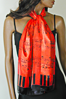 Red Music Notes and Piano Keys Long Silky Scarf