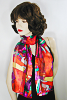 Picasso Long Silky Print Neck Scarf Wrap