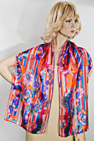 Red Blue Multi Flower Stripes Long Silky Oblong Scarf