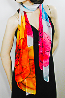 Long Soft Chiffon Scarf with Large Vibrant Flower Print