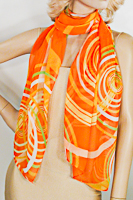 Long Soft Chiffon Scarf with Large Abstract Circles Print