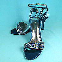 Sequined Satin Shoes with Roses and Beads