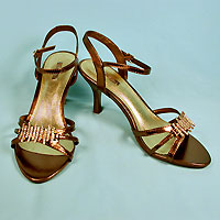Brown Metallic Shoes with Rhinestones