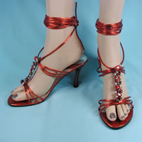 Red Ankle Strap Shoes with Jeweled Angle Straps